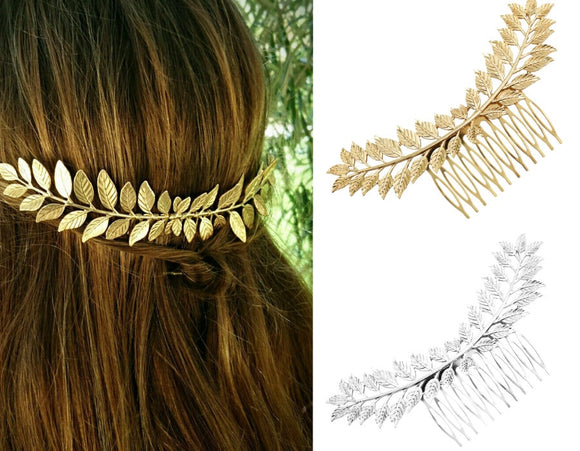 Greek Headdress Gold Silver Olive Leaf Crown | & some other hair clips too