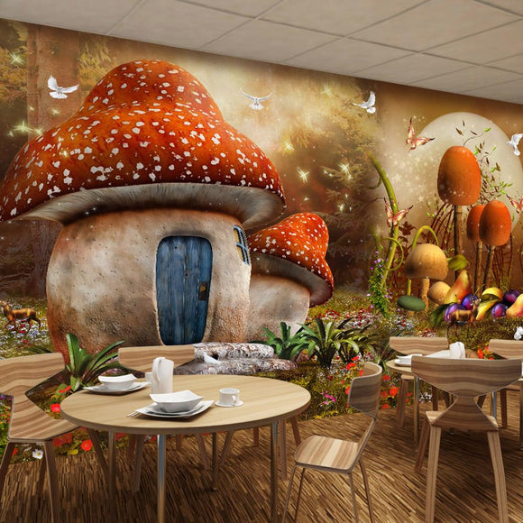 Mushroom Fairy Homes Mural Wallpaper