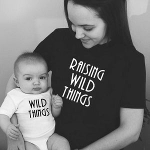 Raising Wild Things Wild Things | Shirt Family Shirts Mummy and Daughter Son | T-Shirt Baby Romper for Mum and Me