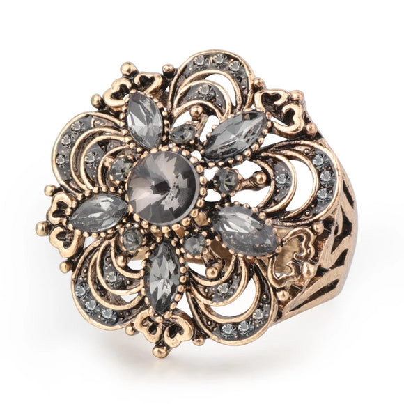Grey Crystal Flower Vintage Inspired Ring