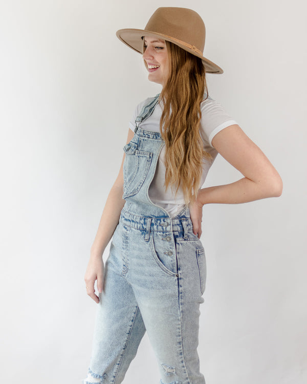 camel wool hat styled in a casual capsule wardrobe with overalls