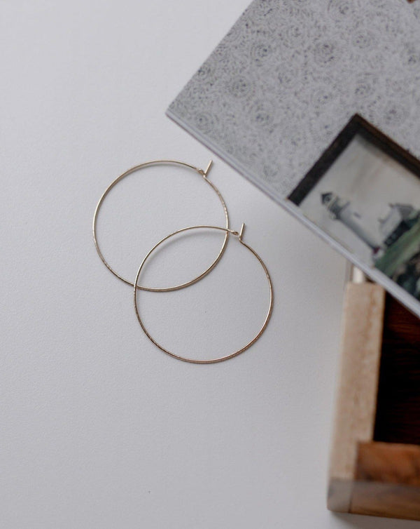 "thin 2"" gold hoop earrings"