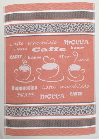 Coffee Espresso Jacquard Woven Kitchen Tea Towel - Crystal Arrow