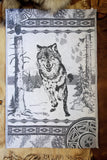Wolf Jacquard Woven Luxury Kitchen Tea Towels / Tapestry