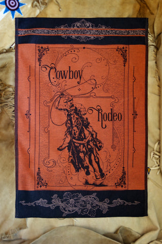 Cowboy Rodeo Jacquard Woven Kitchen Tea Towel / Tapestry - Crystal Arrow