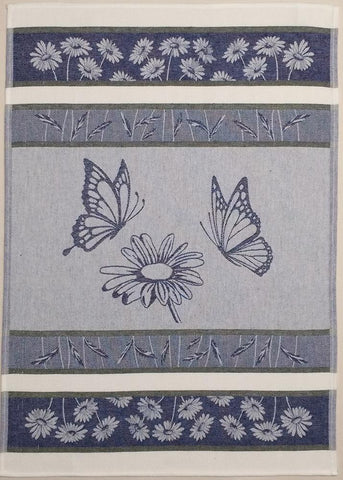 Daisy with Butterflies Jacquard Woven Kitchen Tea Towel - Crystal Arrow