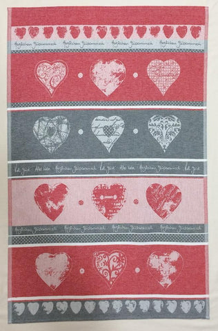 Hearts Good Luck German Jacquard Woven Kitchen / Tea Towel - Red - Crystal Arrow