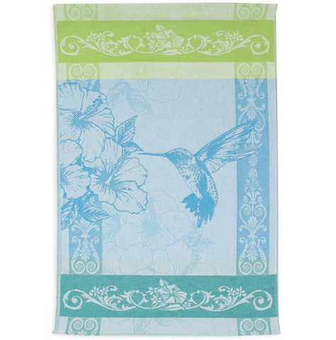 Hummingbird Jacquard Woven Luxury Kitchen Tea Towels / Tapestry Blue Green Cotton