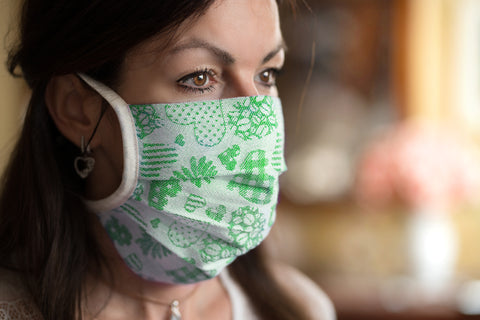 Face Mask with Ties - Jacquard Woven - Adjustable, Reusable, Washable, 100% Cotton - Crystal Arrow