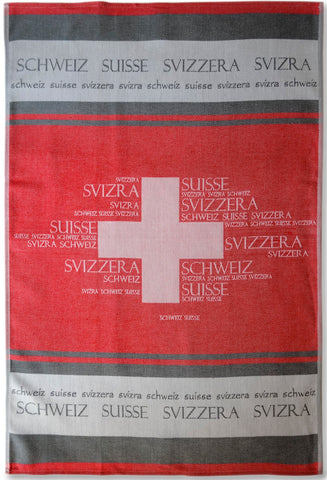Switzerland Jacquard Woven Kitchen Tea Towel - Red - Crystal Arrow