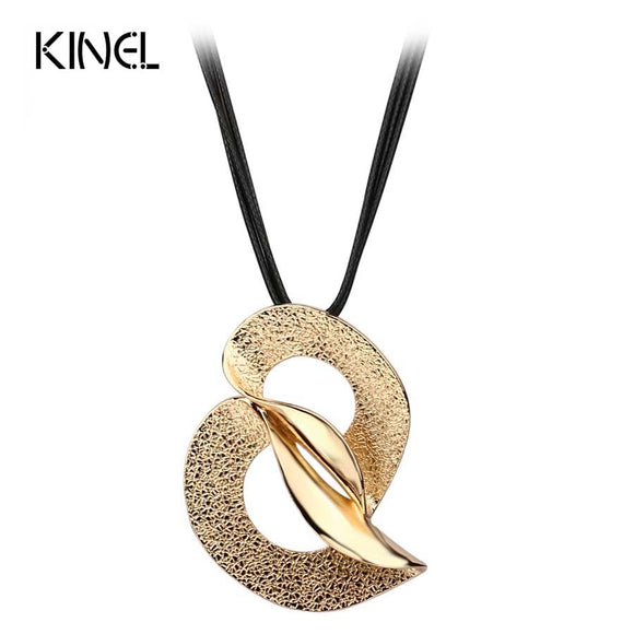 2016 New Minimalist Abstract Pattern Gold Color Pendant Necklace Hand-woven Black Wax Rope Wholesale Kinel Vintage Jewelry