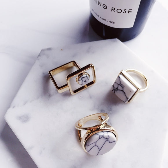 2017 New Arrive Minimalist Geometric Finger Ring Personality Marble Lines Round Square Rings For Women Bijoux Fashion Jewelry