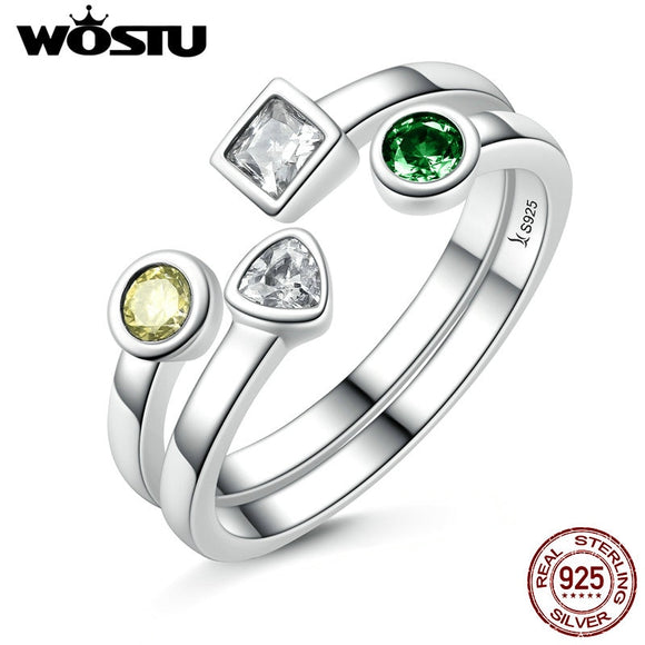 WOSTU Authentic 925 Sterling Silver Geometry Minimalist Double Open Adjustable Finger Rings S925 Unique Jewelry Bague  CQR106