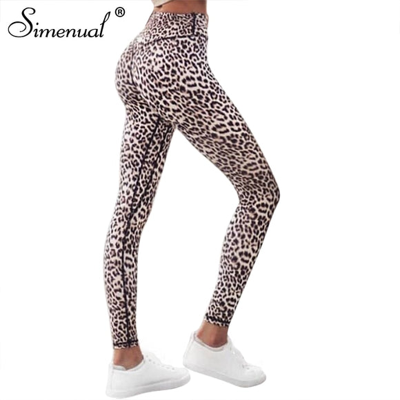 Simenual Harajuku high waist leopard leggings women sportswear fitness clothing 2018 athleisure sexy legging activewear pants