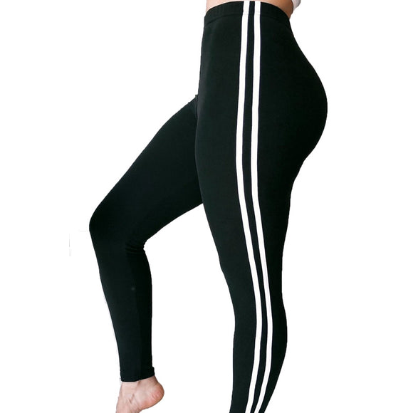 Fitness athleisure women leggings 2018 new arrival striped slim splice black long leggins clothes ladieswear legging