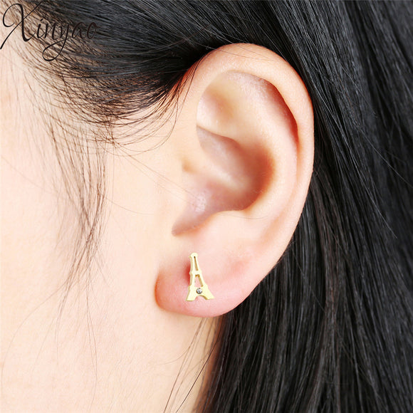 XINYAO Simple Stainless Steel Tower Stud Earrings For Women Gold Color Small Round Rhinestone Ear Studs  Minimalist Jewelry