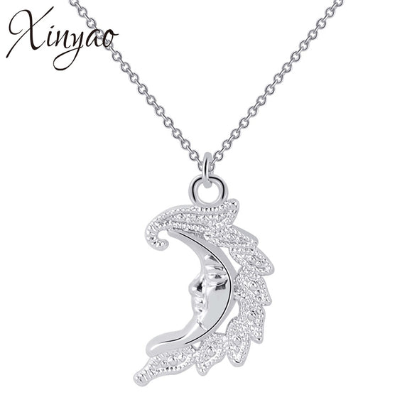 XINYAO 2018 Minimalist Crescent Moon Pendant Necklace For Women Gold Color Long Chain Statement Necklace Best Friends Jewelry