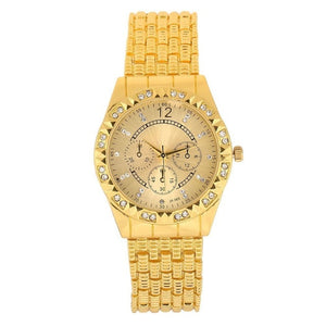 3 Sub-Dials Business Rhinestone Fashion Quartz Men Watch Round