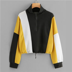 SweatyRocks Athleisure Color Block Zip Up Sweatshirt Stand Collar Half Placket Crop Pullover 2018 New Autumn Women Casual Tops