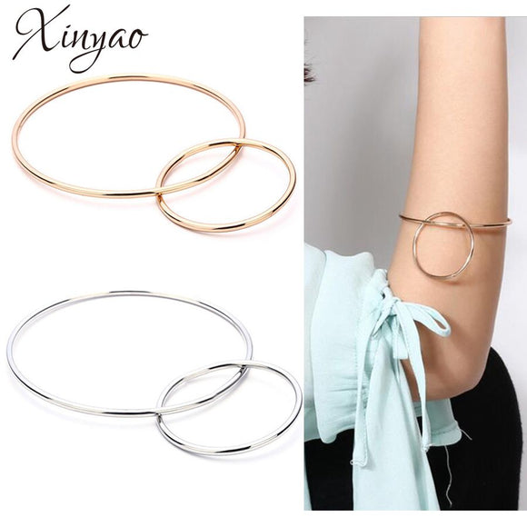 XINYAO Minimalist Double Circle Concise Bracelet Gold Silver Color Charms Bracelet Bangle For Women Fashion Jewelry Gift