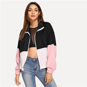 SweatyRocks Athleisure Elastic Edge Color Block Windbreaker Jacket Active Wear Stand Collar 2018 Autumn Zip Up Women Casual Tops