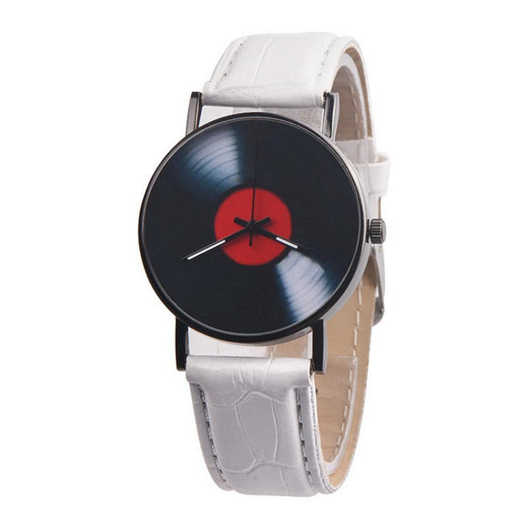 Quartz Watch 30M Dial Glass Round Men Pointer Buckle White Wrist Casual Black Brown Fashion Vinyl Records Pin