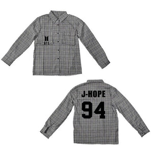 BTS gray long-sleeved shirt under the summer sun Bangtan Boys bottoming plaid jacket Korean male female students