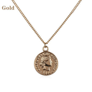 1 Pcs Women's Fashion Simple Style Sliver Coin Portrait Pendant Necklace Minimalist Round Disc Long Chain Jewelry