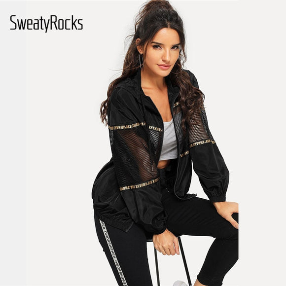 SweatyRocks Black Athleisure Mesh Insert Drawstring Hooded Windbreaker Jacket 2018 Women Workout Autumn Casual Overcoat And Tops