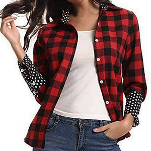 Women's Roll Up Long Sleeve Leisure Button Plaid Flannel Shirt