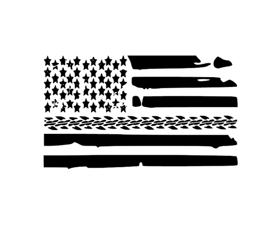 Tire Mark American Flag Decal - Self Expressions Decals & More