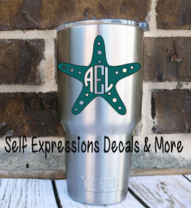 Starfish Monogram Cup Decal - Self Expressions Decals & More