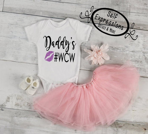 Daddy's WCW // Baby Girl // Baby Body Suit - Self Expressions Decals & More