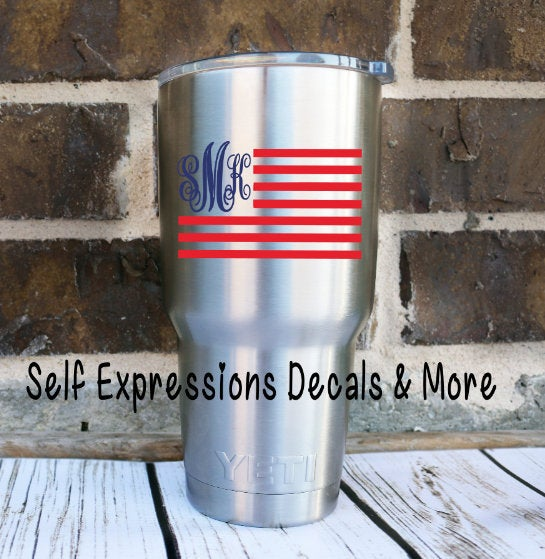 Monogrammed Flag Cup Decal - Self Expressions Decals & More