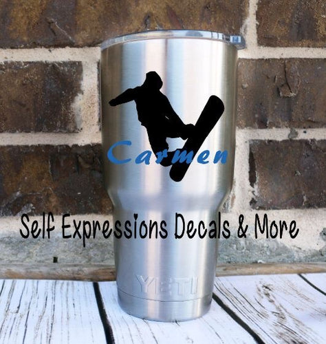 Personalized Snowboarding Cup Decal - Self Expressions Decals & More