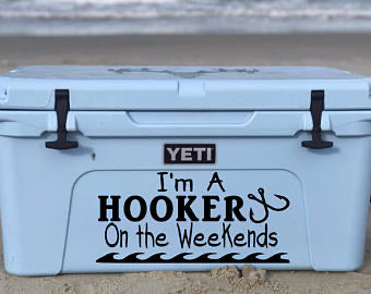 Hooking Fish on the weekends Cooler Decal - Self Expressions Decals & More