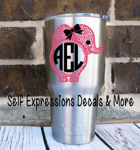 Monogramed Swirl Elephant Cup Decal - Self Expressions Decals & More