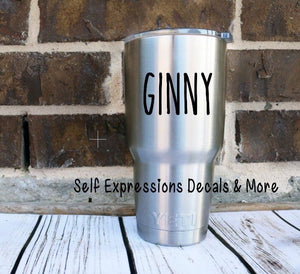 Personalized Name Cup Decal - Self Expressions Decals & More