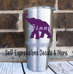 Personalized Elephant Cup Decal - Self Expressions Decals & More