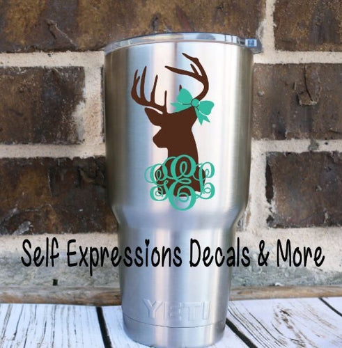 Monogramed Deer Cup Decal - Self Expressions Decals & More