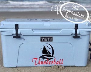 Personalized Sailboat Cooler Decal - Self Expressions Decals & More