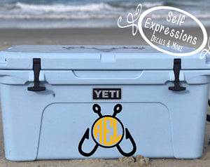 Fishing Hooks Circle Monogram Cooler Decal - Self Expressions Decals & More