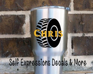 Personalized Tire Cup Decal - Self Expressions Decals & More
