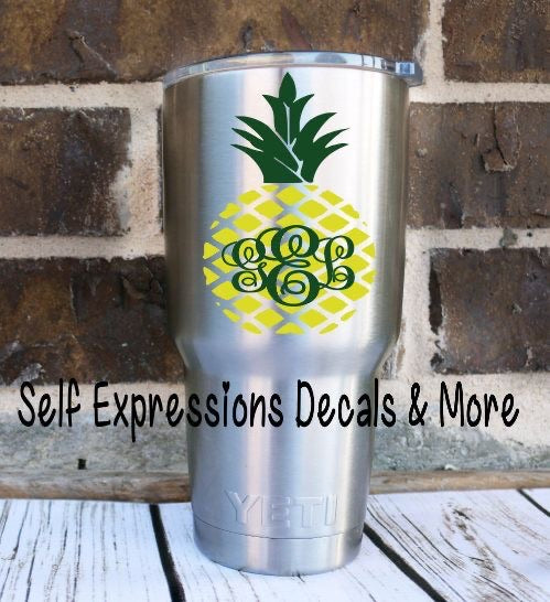 Monogram Pineapple Cup Decal - Self Expressions Decals & More