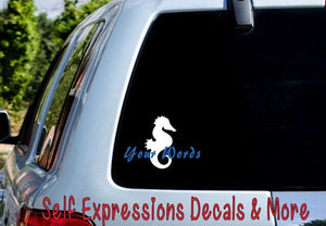 Personalized Seahorse Decal - Self Expressions Decals & More