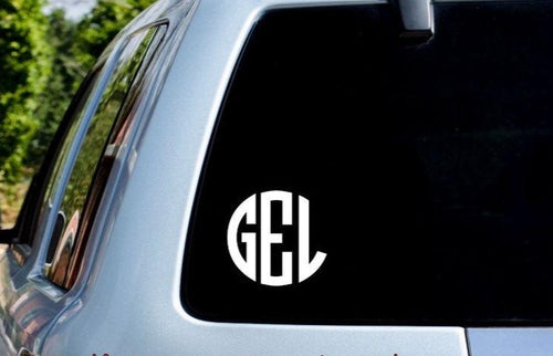 Circle Monogram Car Decal - Self Expressions Decals & More