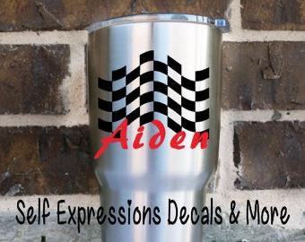 Personalized Checkered Flag Cup Decal - Self Expressions Decals & More