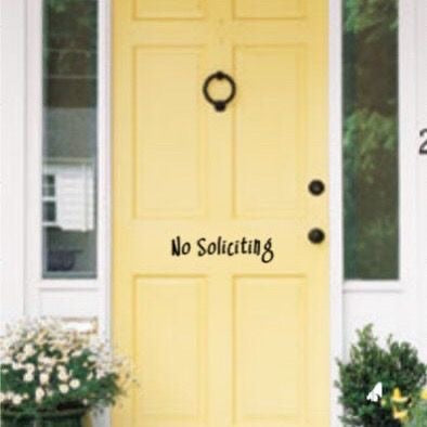No Soliciting Door Decal - Self Expressions Decals & More