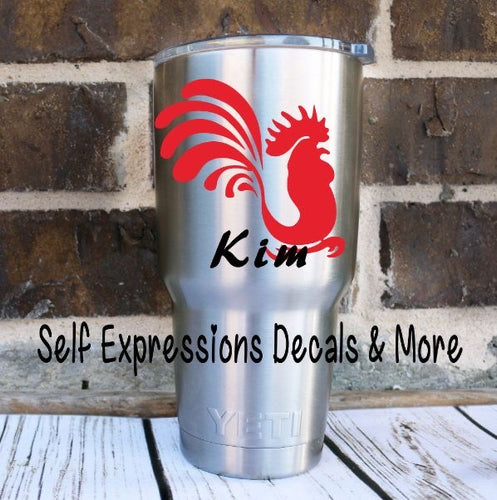 Personalized Rooster Cup Decal - Self Expressions Decals & More