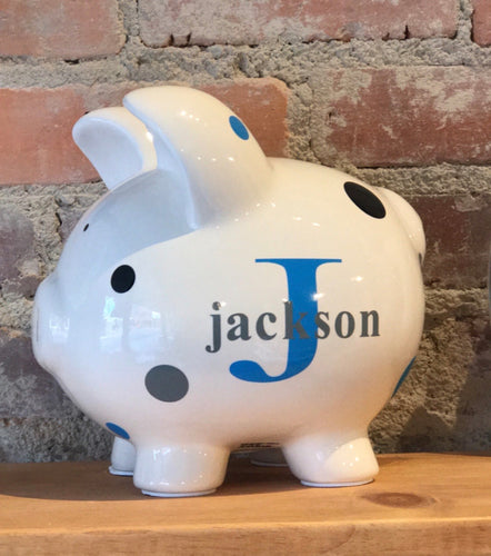 Large Personalized Kids Piggy Bank - Self Expressions Decals & More